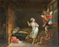 Ecole FRANCAISE du XIXème siècle, dans le goût de FRAGONARD  La visite impromptue.  Huile sur toile.  76,5 x 94 cm.  Petits manques.