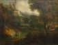 Ecole FRANCAISE ou ITALIENNE de la première moitié du XIXème.  Muses et temple dans la forêt.  Huile sur toile.  55,6 x 70,8 cm.  Accidents et restaurations. Manques.