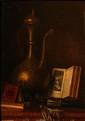 Ecole FRANCAISE fin XIXème-début XXème  Nature morte au pichet.  Huile sur carton, portant les inscriptions en bas à droite SA 46.  22,1 x 16 cm.  Cadre en bois doré à frise de perles.    Voir la reproduction