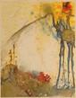 Salvador DALI (1904-1989) Les tables de la loi, planche de la série Moïse et le Monothéisme. 1974. (Michler et Löpsinger 731). 64 x 50 cm. Eau-forte sur fond lithographié, impression sur peau de vélin. Epreuve sans doute d' essai, sans signature ni