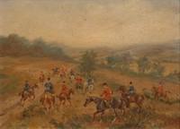 Karl REILLE (1886-1974) Forêt de Sillé-le -Guillaume (Sarthe) Equipages de Kermaingant (tenue rouge) et du Joncheray (tenue bleue) Huile sur isorel, signée en bas à droite. 17 x 22 cm. Collection particulière achetée directement chez la nièce du