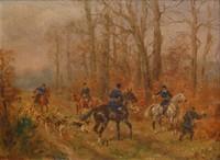 Karl REILLE (1886-1974) Appel aux chiens. Huile sur isorel, signée en bas à droite. 16 x 22 cm. Collection particulière achetée directement chez la nièce du peintre.