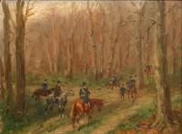 Karl REILLE (1886-1974) Appel aux chiens. Huile sur isorel, signé en bas à gauche. 16 x 21 cm. Collection particulière achetée directement chez la nièce du peintre. Voir la reproduction