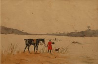 Karl REILLE (1886-1974) Hallali. Aquarelle. 19,5 x 29 cm. Non examinée hors du cadre. Collection particulière achetée directement chez la nièce du peintre. Voir la reproduction