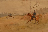 Karl REILLE (1886-1974) Hallali. Aquarelle, 19,5 x 29 cm, non examinée hors du cadre. Provenance : Collection particulière achetée directement chez la nièce du peintre. Voir la reproduction
