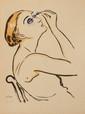Kees VAN DONGEN (1877-1968)  Le rimmel. 1920.  Estampe sur Japon ancien coloré au pochoir numérotée au crayon 786.  31 x 23,2 cm.