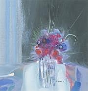 René SMET (1929-) Bouquet de fleurs.Gouache,Dim.