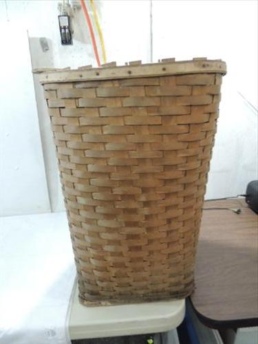Vintage Hand Wood Woven Clothes Hamper Hinged Lid