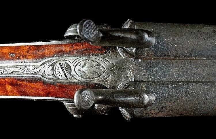 BELGIAN DOUBLE BARREL PINFIRE SHOTGUN / RIFLE, EMILE BERNARD