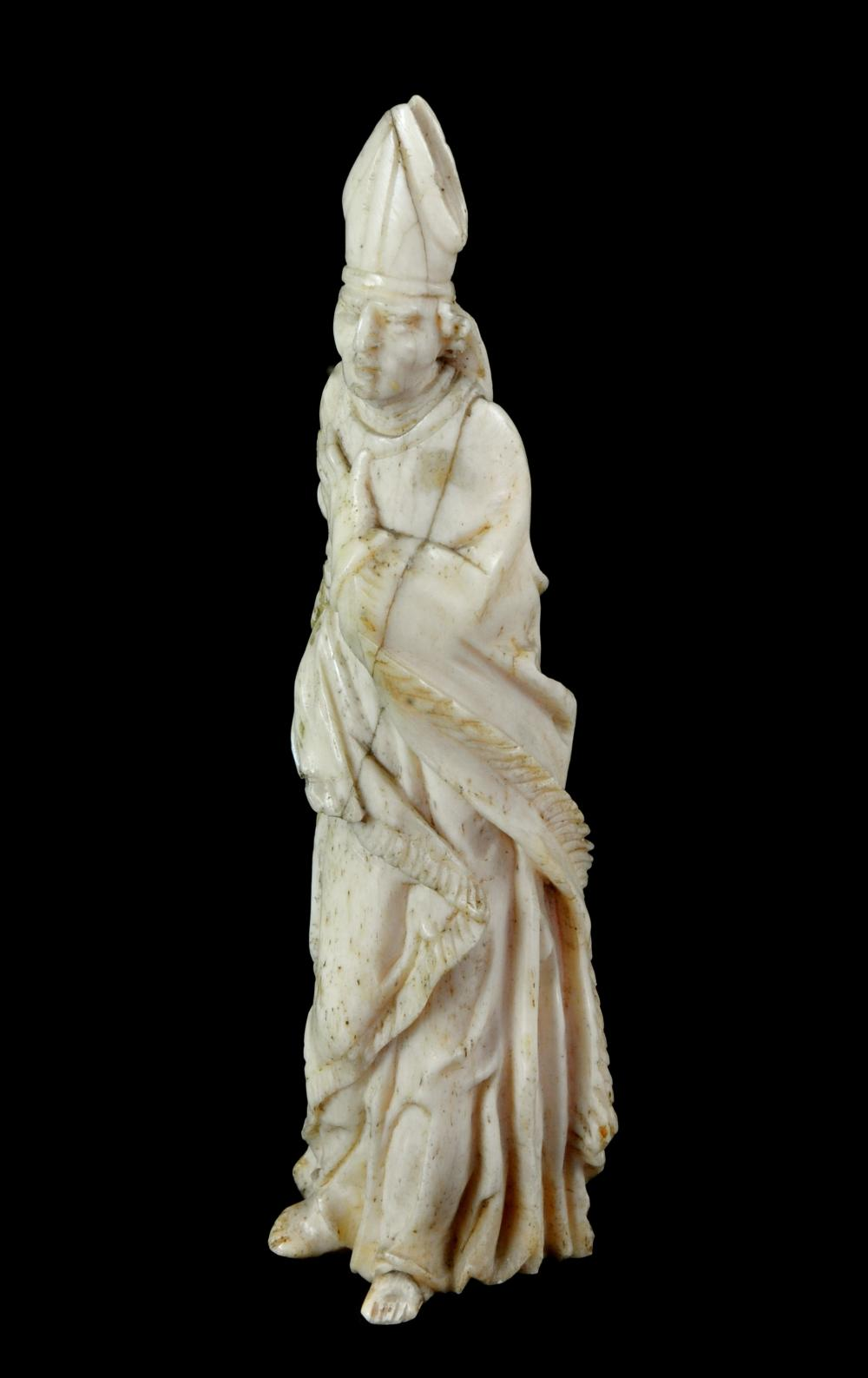 Carved Bone Or Ivory Figure Of A Bishop Possibly French 16