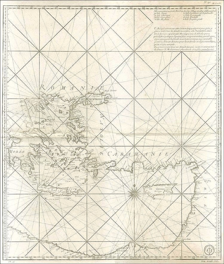 "BELLIN J. N., [Chart of the Mediterranean: Greece and the Eatern Mediterranean] ""III Feuille / Isles comprises entre le meridian du Cap St. Ange et celuy d'Alexandretta"" (Eastern part of 3 sheets), c.1770. Rare chart of the Eastern Mediterranean"