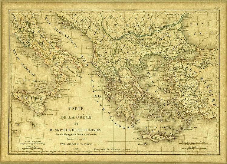 Carte de la Grece et dune partie de ses colonies. Dressee et Gravee par Ambroise Tardieu. 1821 from