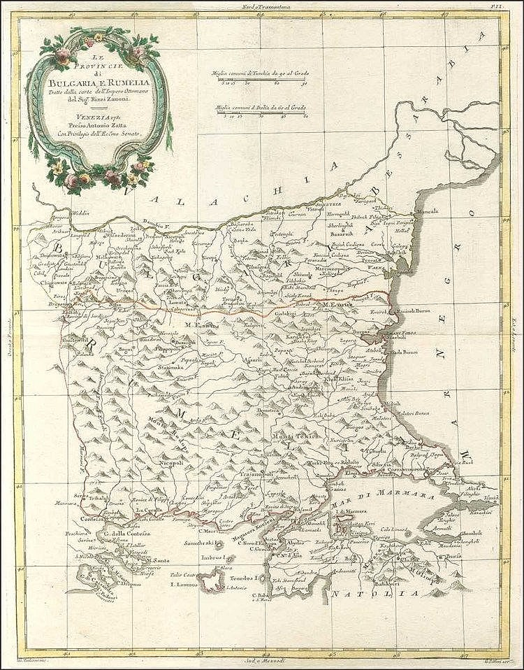 "ZATTA Antonio, ?Le Provincie di BULGARIA, E RUMELIA Tratte dalla carta dellImpero Ottomano…"", 1775-1785, 1799. Attractive map centered on today Bulgaria and including the NE regions of Greece and the Sea of Marmara in Turkey. 18th century place-names"
