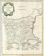"""ZATTA Antonio, ?Le Provincie di BULGARIA, E RUMELIA Tratte dalla carta dellImpero Ottomano…"""", 1775-1785, 1799. Attractive map centered on today Bulgaria and including the NE regions of Greece and the Sea of Marmara in Turkey. 18th century place-names"""