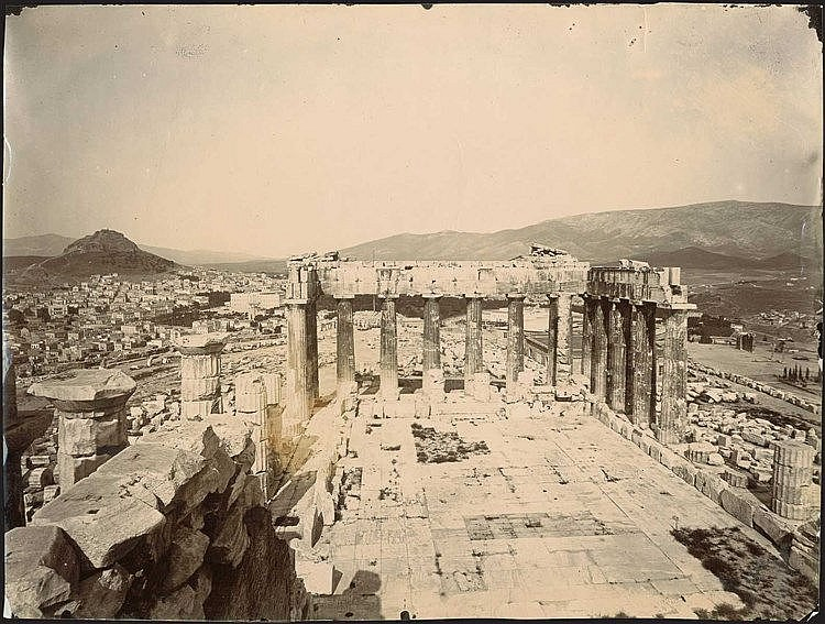 Athens c.1890. Albumen photo, panoramic view of the town from Parthenon, Acropolis. Dim.23.5x18cm.