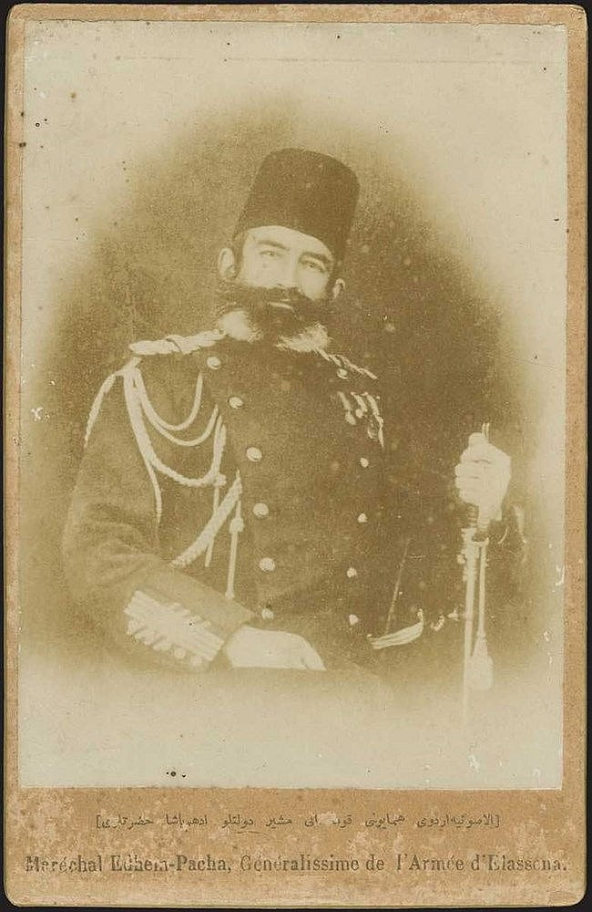 Edhem Pasha General - Elassona (Ελασσόνα). Photo attached on passe-partout with bilingual (French/Ottoman Turkish) inscription