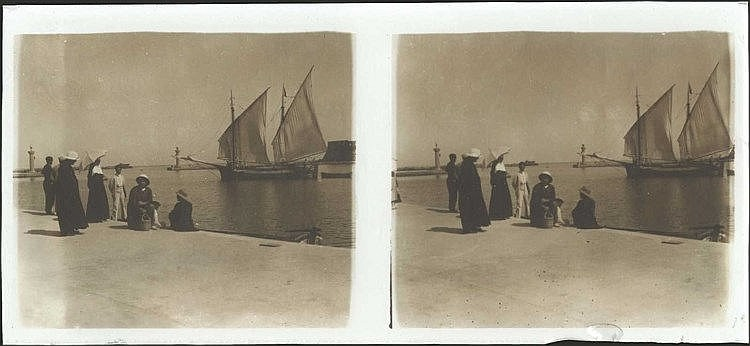 RHODES c.1900. Stereoscopic Glass plate (positive). Rare view of Rhodes port at the end of the 19th century. RARE.