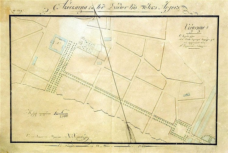 Απόσπασμα εκ του σχεδίου της πόλεως Άργους / Υπό του Λοχαγού του Μηχανικού Χ. Χρυσοβέργης / Εν Ναυπλία τη 28 Μαίου 1866. ΧΕΙΡΟΓΡΑΦΟ επιχρωματισμένο τοπογραφικό σχέδιο του Άργους