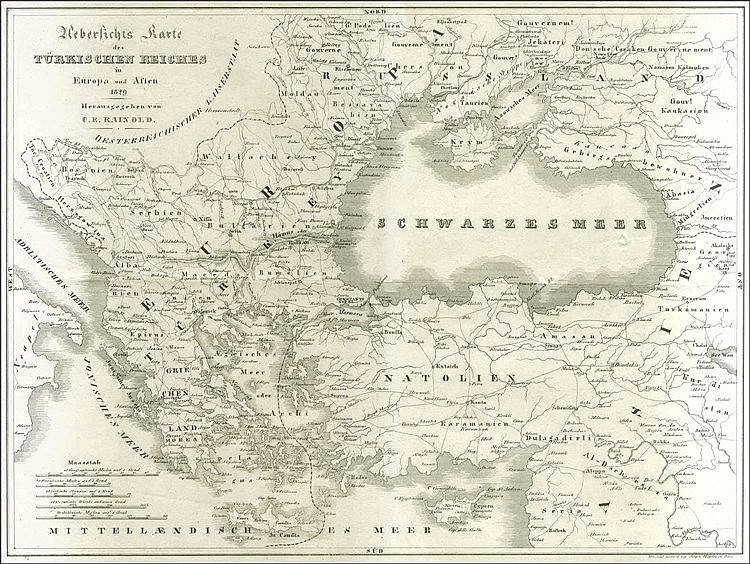 "[Russo-Turkish War 1828/29] RAINOLD C. E., ""Uebersichts Karte des Turkischen Reiches in Europa und Asien 1829"" Vienna 1829. Map of the theater of the Russo-Turkish war 1828/29, Dimensions 48.5x36cm. Early separately printed, lithograph map of the"