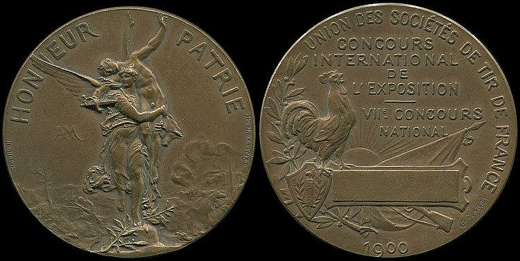 Paris 1900, 2nd International Olympic Games, Official Olymjpic Shooting Event Winners Medal. Bronze 44mm by Charles Marey. Winged Nike holding fallen soldier. Rev. French rooster with inscr.