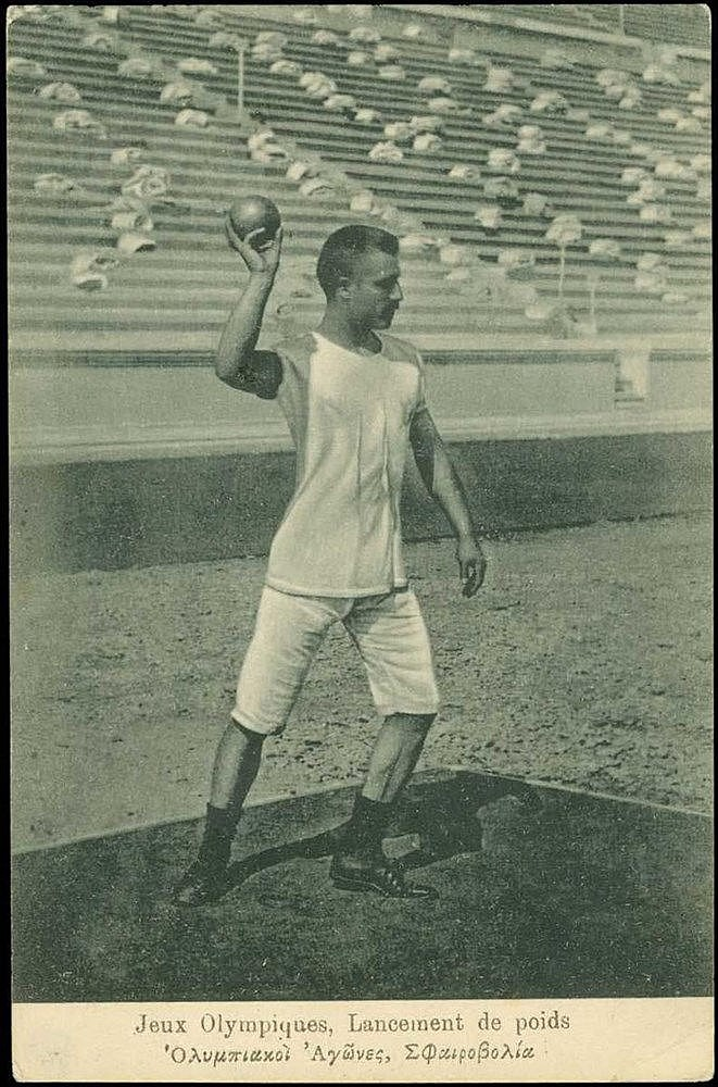 Athens 1896 1st Olympic Games, Shot Put. Postcard