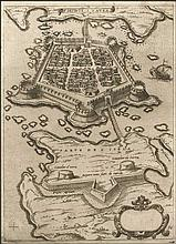 "CAMOCIO Giovanni Francesco, [ΛΕΥΚΑΔΑ] ""FORTEZA DE S. MAURA"" c.1566-1574, from ""Isole famose, porti fortezze e terre maritime…"" publ. in Venice. Numbered plate ""36"". Rare, early plan of the fortified town of LEFKADA (Santa Maura)"