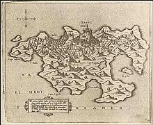 "CAMOCIO Giovanni Francesco, [ΖΑΚΥΝΘΟΣ] ""ZANTE insula…"" c.1566-1574, from ""Isole famose, porti fortezze e terre maritime…"" publ. in Venice. Numbered plate ""42"". Rare, early map of Zakynthos"