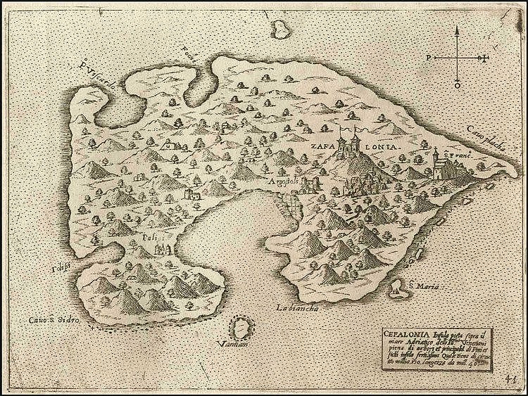 "CAMOCIO Giovanni Francesco, [ΚΕΦΑΛΟΝΙΑ] ""CEFALONIA insula…"" c.1566-1574, from ""Isole famose, porti fortezze e terre maritime…"" publ. in Venice. Numbered plate ""41"". Rare, early map of Cephalonia island"