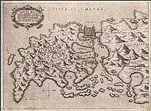 "CAMOCIO Giovanni Francesco, [ΛΕΥΚΑΔΑ] ""SANCTA MAURA…"" c.1566-1574, from ""Isole famose, porti fortezze e terre maritime…"" publ. in Venice. Numbered plate ""35"". Rare, early map of the island of LEFKADA,"