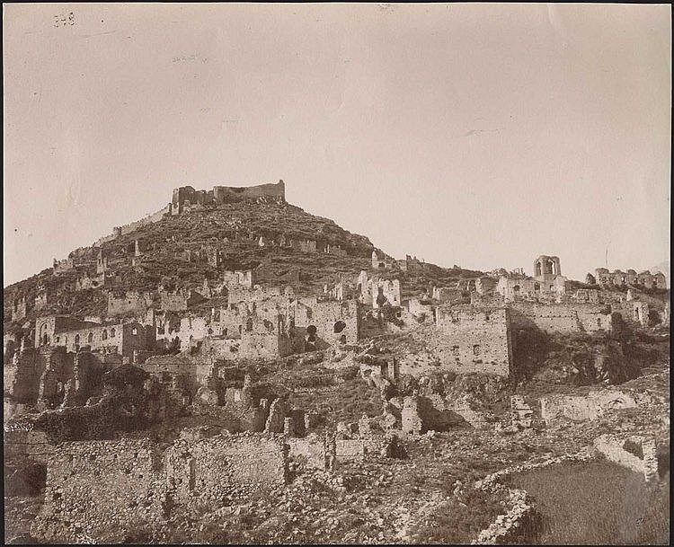 MYSTRAS. Three (3) rare early albumen photos c.1880. Panoramic views of the fortified town. Photos dim.21x17cm & 17.5x13cm.