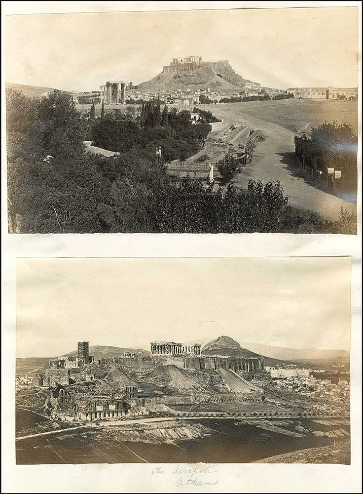 Athens - Venice c.1870. Two (2) albumen photos of Athens (21x13cm) and one (1) of Venice (13x18cm). The Frankish tower is still standing on Acropolis and parts of the early Athenian urban landscape.