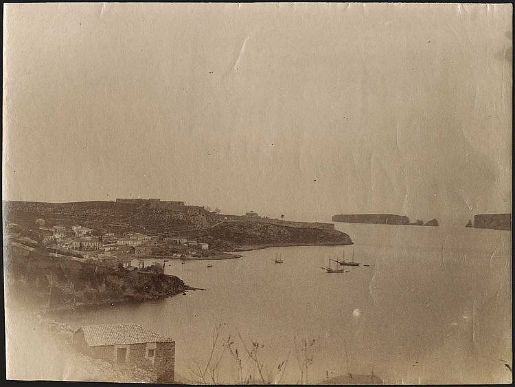 Navarino Bay. Four (4) rare early albumen photos c.1880. Panoramic views of Navarino bay and Pylos town. Photos dim.17x12cm.