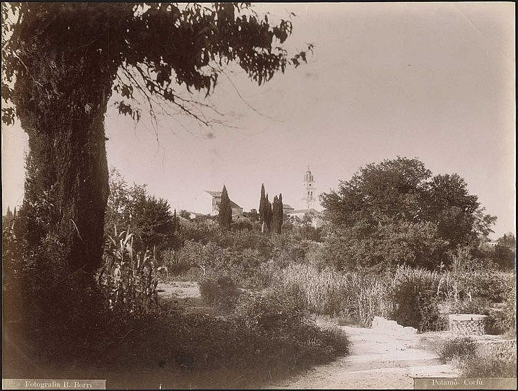 CORFU, Potamos / Photographer B. Borri. Albumen photo dim.27.5x21cm. Title and photographers name on negative