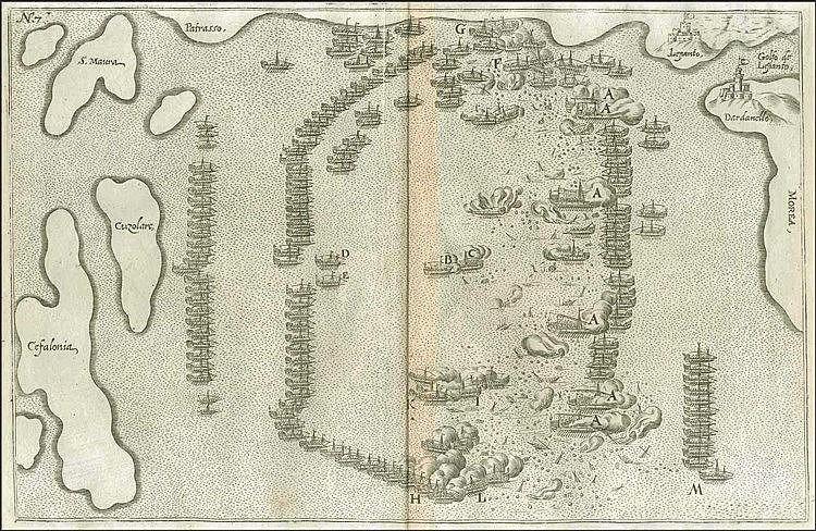 "FURTTENBACH J., [LEPANTO Naval Battle] from ""Architectura Navalis"" Ulm 1629 (single edition). Map dim. 34x22cm. Engraved map of the Lepanto naval battle, the Gulf of Patras & the adjacent islands. Rare"