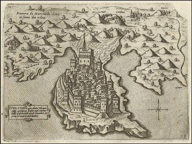 """CAMOCIO Giovanni Francesco, [ULCINJ - MONTENEGRO] """"DULCIGNO…"""" c.1566-1574, from """"Isole famose, porti fortezze e terre maritime…"""" publ. in Venice. Numbered plate """"23"""". Rare plan of Ulcinj castle"""