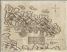 "CAMOCIO Giovanni Francesco, [Croatia - Korcula] ""Curciola insula et citta nella Dalmatia…"" c.1566-1574, from ""Isole famose, porti fortezze e terre maritime…"" publ. in Venice. Numbered plate ""17"". Rare, early map of the island of Korcula, Croatia."