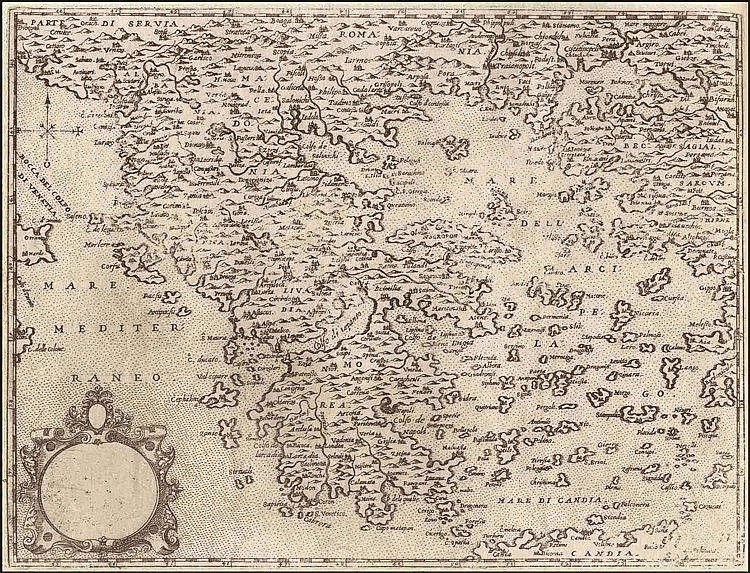 "CAMOCIO Giovanni Francesco, [ΕΛΛΑΔΑ - GREECE] c.1566-1574, from ""Isole famose, porti fortezze e terre maritime…"" publ. in Venice. Numbered plate ""31"". Rare, early map of Greece, the Aegean Archipelago, Ionian Sea and part of the shores of Asia Minor"