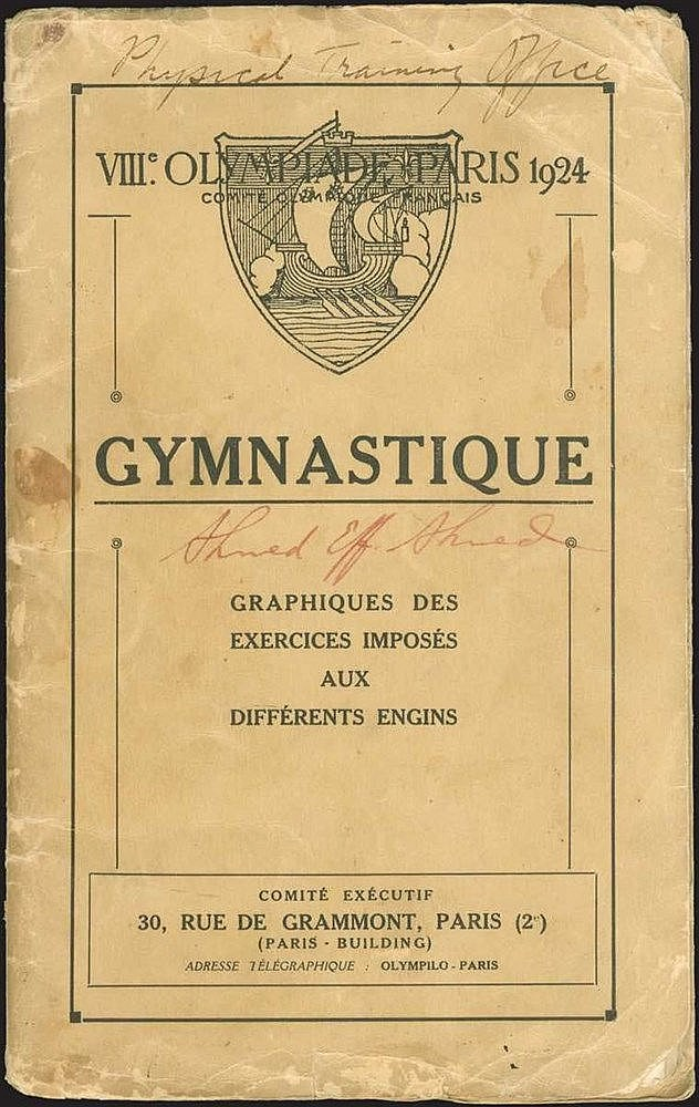 "VIII OLYMPIADE PARIS 1924 / Comite Olympiade Francais / GYMNASTIQUE. Graphiques des exercices imposes aux différents engins"", Comite Executif, Paris. Small 8vo (13.5x21.5cm), with 4 folding and 3 full-page lithographic designs of gymnastic exercises."