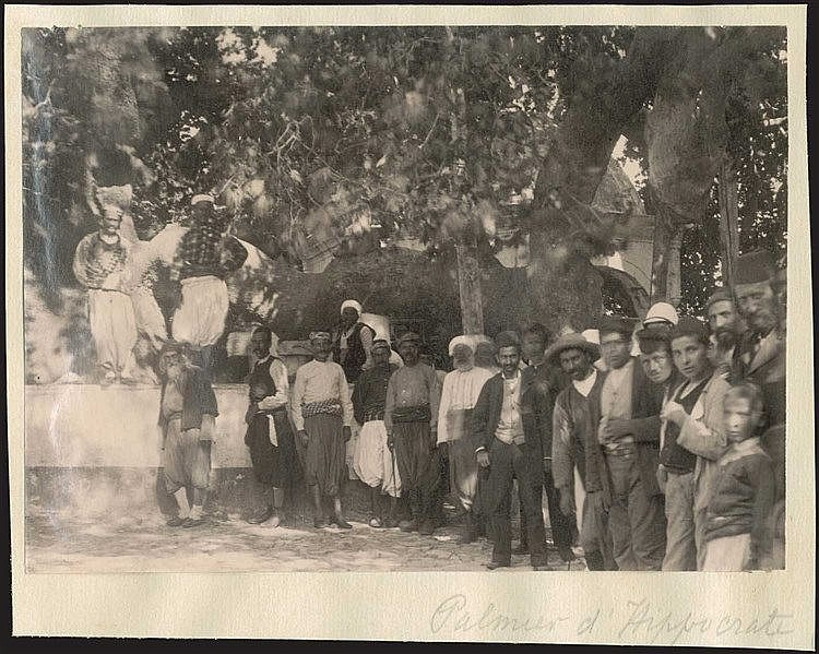KOS c.1880. Local men in traditional costumes gathered around the Tree of Hippocrates in Kos. Scarce albumen print dim.11x15cm.