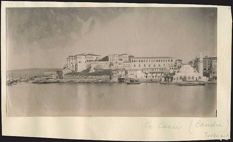 CHANIA c.1880. Early photo of the port. Albumen photo dim. 17x9cm.