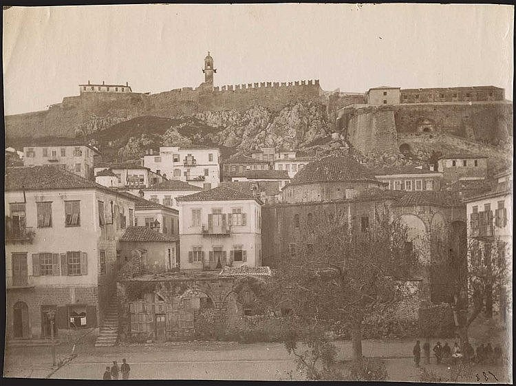 NAFPLIO. Rare early albumen photo c.1880. View of town and castle. Photo dim.17.3x13cm.