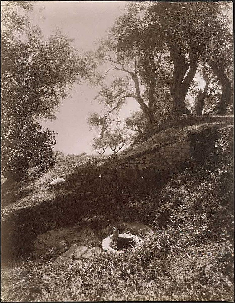 ΚΕΡΚΥΡΑ - CORFU. Rare albumen photo dim.26.5x21cm. View of an old cottage and its well. Cachet