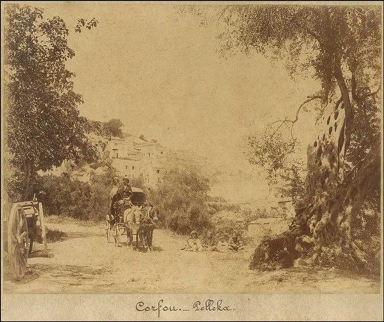 CORFOU - Κέρκυρα, Πέλεκας π.1880. Δύο αλμπουμίνες 27.5χ21.5εκ επικολλημένες σε χονδρό χαρτόνι.