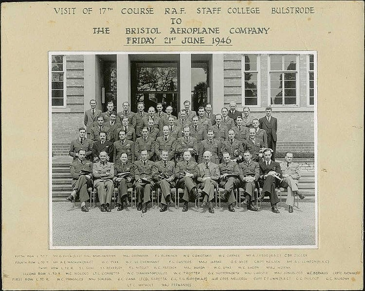 Visit of 17th Course R.A.F. Staff College Bulstrode to the Bristol Aeroplane Company, Friday 21st June 1946. Two b/w framed photos 22x16 cm and 23x17 cm, with the names of the visitors printed on frame. Included 3 Greeks.