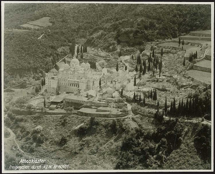 Mont ATHOS / ΑΘΩΣ - Άγιο Όρος 1942. Δύο Γερμανικές αεροφωτογραφίες διαστ.14.5χ12εκ.