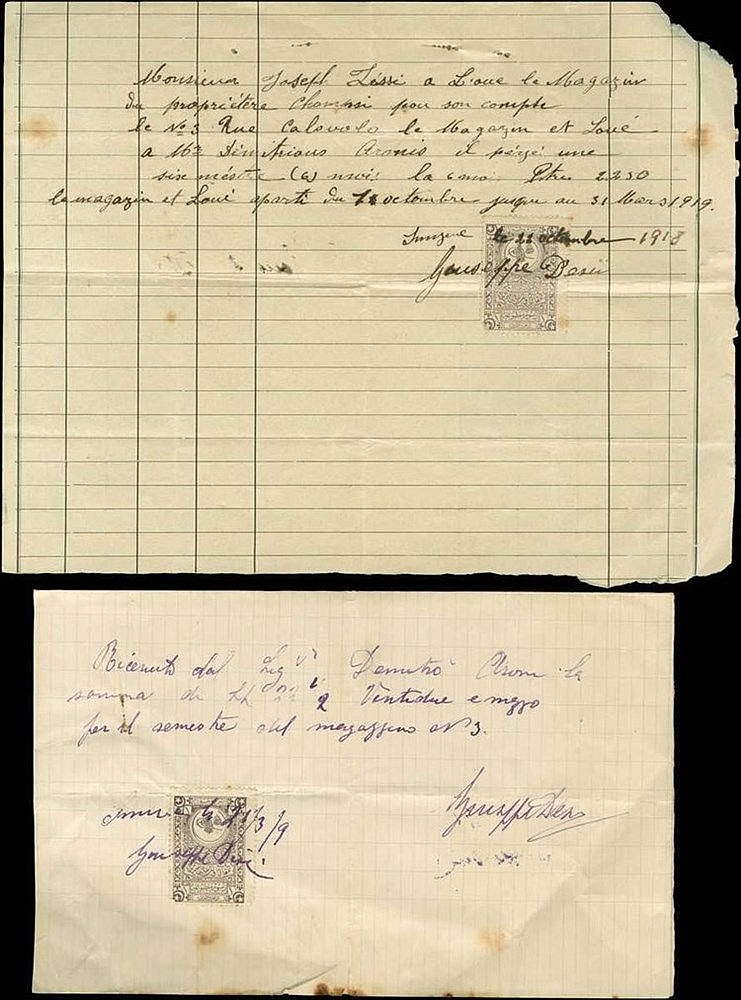 ΣΜΥΡΝΗ - SMYRNA 1909 & 1918. Two documents for renting commercial shops on Calovolo street. Turkish fiscals.
