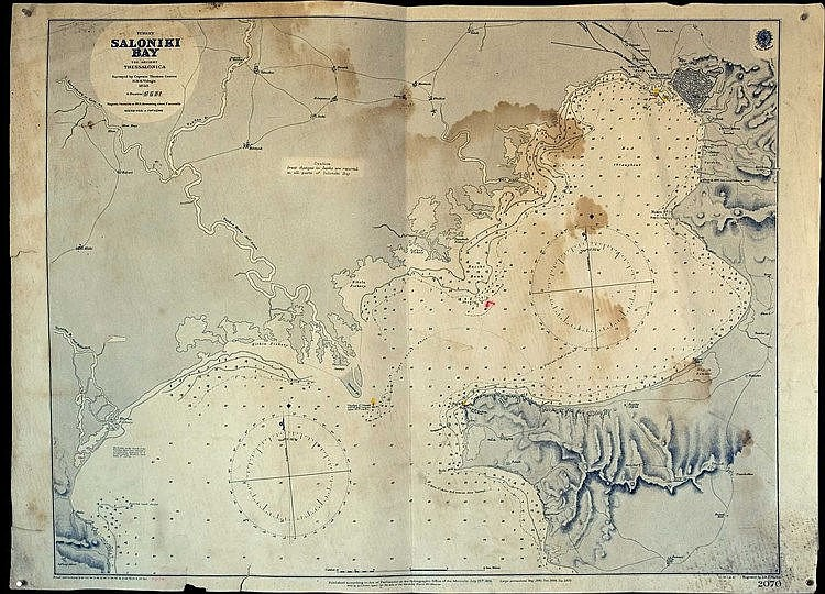 Turkey SALONIKI BAY / The ancient Thessalonica / surveyed by Captain Thomas Graves, H.M.S. Volage, 1850, (corrections up to 1905). Chart of Thermaikos gulf. Although not focusing on inland it provides useful information about the formation of the