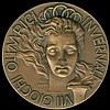 Cortina d Ampezzo, 7th Olympic Winter Games 1956. Italian NOC Bronze Presentation Medal by C. Affer. Female head facing crowned by Olympic rings, flame in lower r., Legent