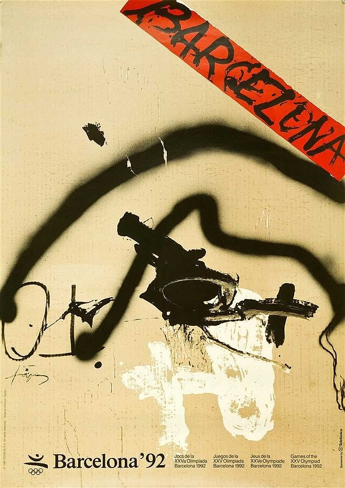 TAPIES Antoni, Barcelona 1992 XXV Olympic Games. Art Poster. Multicolor, 50x71cm.