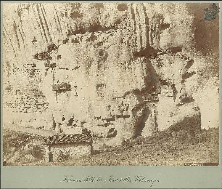 ΜΕΤΕΩΡΑ - Στεφανος ΣΤΟΥΡΝΑΡΑΣ. Σπάνια αλμπουμίνα π.1890, διαστ.29χ22εκ, επικολλημένη σε χαρτόνι που απεικονίζει τις Μονές Αγίου Γρηγορίου και Αγίου Αντωνίου. Υπογραφή